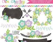 80% OFF SALE Floral Clipart Laurel Wreath Flowers Arrows Labels Instant Download Commercial Use Clip Art Digital Graphics Purple Aqua Green
