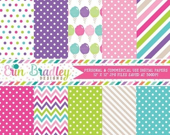 50% OFF SALE Cotton Candy Digital Paper Set Commercial Use Instant Download