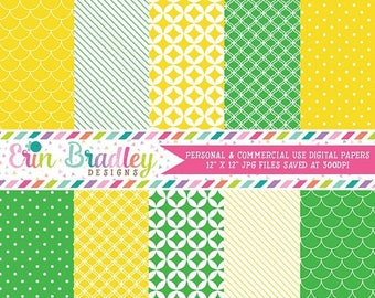 50% OFF SALE Yellow and Green Digital Scrapbook Papers, Digital Paper Pack, Stripes Polka Dots Scalloped Printable Papers