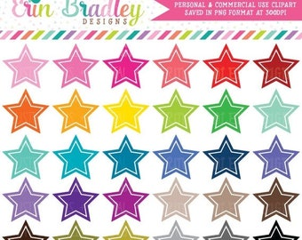 80% OFF SALE Star Clipart Graphics Instant Download Shape Clipart Personal & Commercial Use - 30 Colors