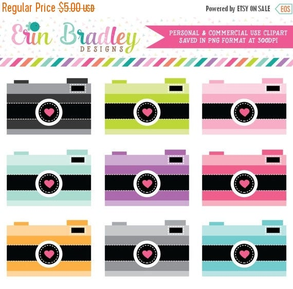 50% OFF SALE Cameras with Hearts Clip Art Clipart Photography Graphics for Personal & Commercial Use