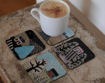 Country Landscape Drinks Coasters- Set of Four