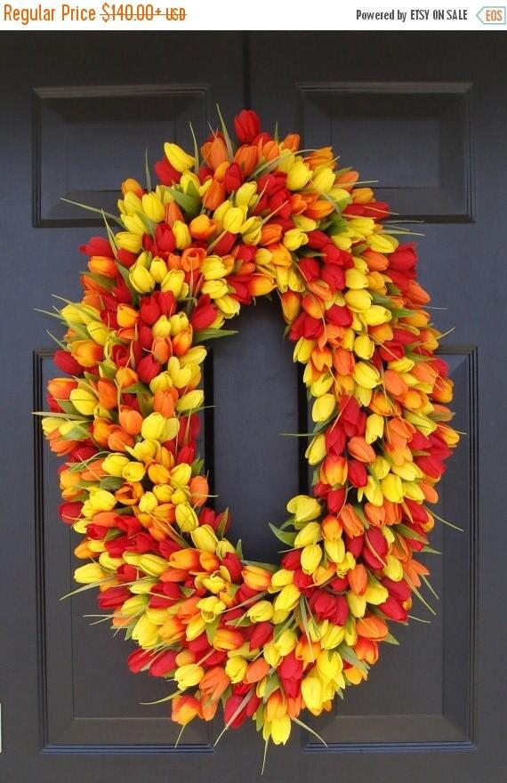 SUMMER WREATH SALE 28 inch Spring Wreath- Door Wreath- Mother's Day Wreath- Spring Decor-Wedding wreath- Oval Wreath
