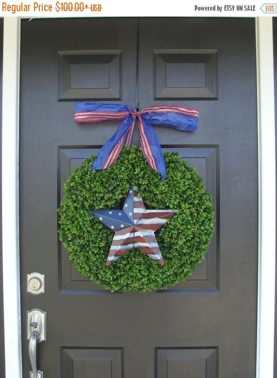 SUMMER WREATH SALE Patriotic Wreath- July 4th Wreath- Fourth of July Decor- Patriotic Star- Memorial Day Wreath- July 4th Wreath