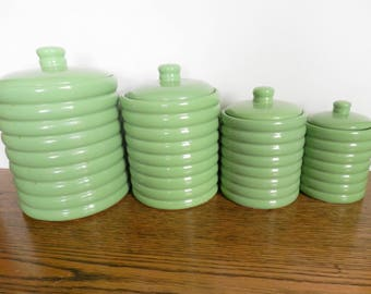 Green Canister Set, Jadeite Green Canister Set, Stoneware Canister Set, 4pc Canister