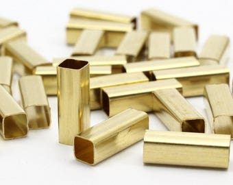 Brass Square Tubes - 50 Raw Brass Square Tube Beads (4x12mm) Bs 1587