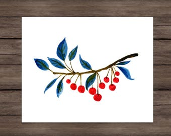 Whimsical Cherry Branch Giclee Print