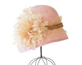 Pink Straw Cloche Hat Women's Hat Flapper Hat 1920's Cloche Hat Mother's Day Great Gatsby Hat Rustic Style Handmade Silk Flower Straw Hat