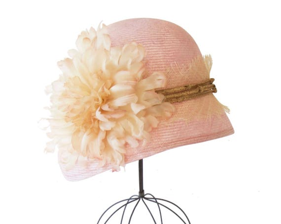 Pink Straw Cloche Hat Women's Hat Flapper Hat 1920's Cloche Hat Mother's Day Great Gatsby Hat Rustic Style Handmade Silk Flower Straw Hat