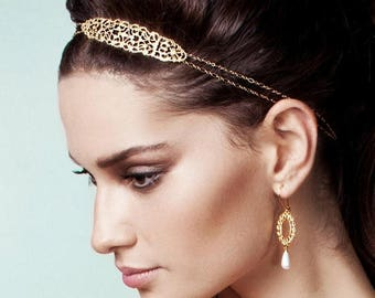 On Sale 40% off, Emmanuelle Headpiece in Gold, Wedding Hair Accessory,  Bridal Accessories