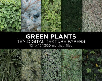 "Green plants texture printable sheets | 12"" x 12"" 300 dpi jpg 