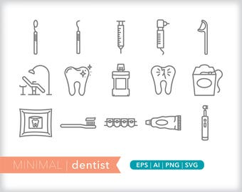 Minimal dentist line icons | EPS AI PNG | Geometric Health Clipart Design Elements Digital Download