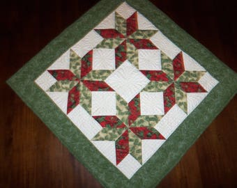 Square Quilted, Table Topper, Holiday Christmas, Dining Table Decor, Fabric Wall Hanging, 31x31 Inches,  Machine Quilted, Evening Star