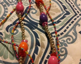 Multi color and bead 3 strand necklace