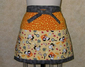 Newlywed apron half cotton deep pockets top stitched lined 3 part front pocket panel bright sunny yellow orange cat dog fry pad fried egg