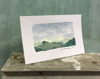 Table Rock from Hawksbill / original watercolor / one of a kind painting