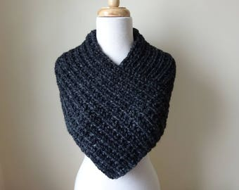 Knit Cowl, Knit Neck Warmer, Textured Rib Stitch Cowl Neck Warmer in Charcoal - Wool Blend - Soft Cowl - Warm Cowl - Gift for Her