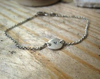 Fine Silver Heart Nugget Bracelet, Gift for Her, Heart Bracelet, Silver Bracelet, Gift for Teen