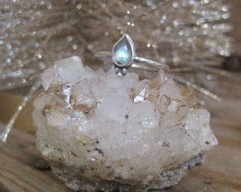 Moonstone Ring, Statement Ring, Gift for Her, Sterling Silver Ring, Pear Shape, Rainbow Moonstone, Boho Ring