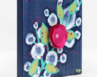 Mini Painting of Flowers Original Canvas Art, Gift for Teen Girl, Indigo Blue and Fuchsia Pink - Mini 6x6