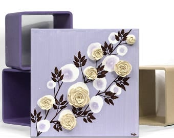 Purple Canvas Art with Sculpted Roses, Small Acrylic Painting, Custom Name Art Gift for Girl, Lavender Flower Painting - 10x10