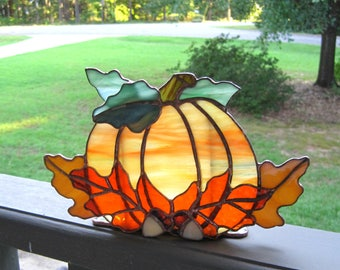 Autumn Harvest Stained Glass Tea Light Holder no. 4 Stained Glass Pumpkin Fall Candle Holder Halloween Candle Holder Pumpkin Tealight Holder