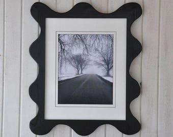 11x14 Funky Picture Frame Painted Black with Acrylic Glass Backing and Mounting Hardware