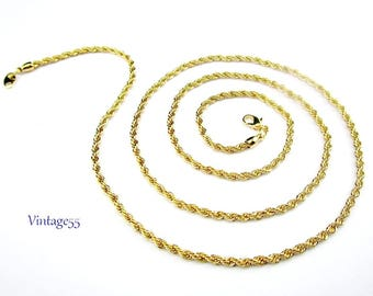 "Rope Necklace Gold tone 31"" by Avon"
