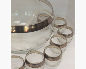 Dorothy Thorpe Sterling Band Roly Poly Punch Bowl and Cup Set 12 Cups and Ladle with Original Box Vintage