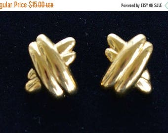 "On sale Pretty Vintage Gold tone ""X"" Pierced Earrings, ""Napier"" (R10)"