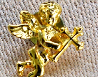 ON SALE Lovely Vintage Angel, Cross Tac Pin, Gold tone (W7)
