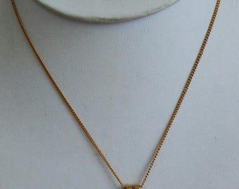 "ON SALE Pretty Vintage Rhinestone Floral Pendant Necklace,Gold tone, 15"" (F17)"