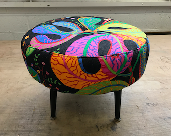 "Beautiful Upcycled Sherbourne Footstool in Svenskt Tenn/ Josef Frank "" Teheran"""