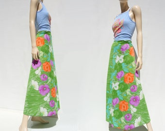 sale 70s Maxi Skirt Floral Maxi Skirt 70s Wrap Skirt Bright Green Skirt Swimsuit Coverup 70s Floral Skirt Vintage Sarong xs to m