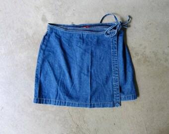 90s ESPRIT Jean Side Tie Wrap Skirt Mini Wrap Skirt Vintage 1990s Thin Denim Skirt Mini Jean Wrap Skirt Grunge Miniskirt Womens Medium