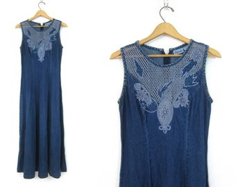 Long Blue Denim Dress Long Vintage Sleeveless Boho Dress Denim Hipster Dress Preppy Summer Dress Women's size 6 Small Medium