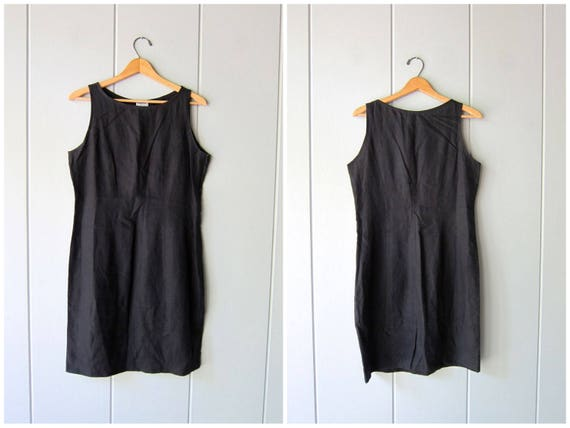 Basic Black Linen Dress Minimal Sun Dress Linen Mini Sun Dress Vintage 90s Linen Dress Modern Basic Linen Dress DES Womens Size 8 Medium