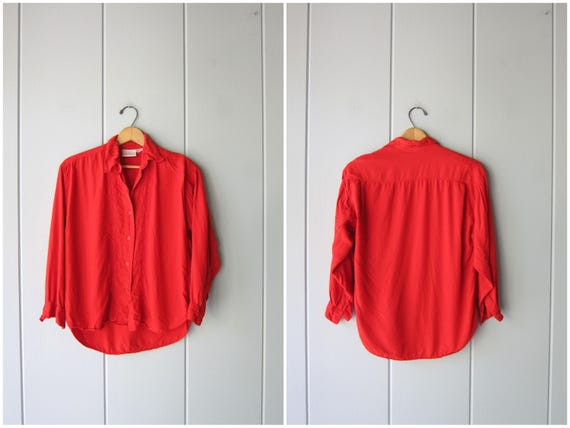 Vintage 90s Red Blouse Button Up Blouse Cropped Rayon Blouse Minimal Slouchy Top Embroidered Slub Shirt Modern Long Sleeves Womens Small