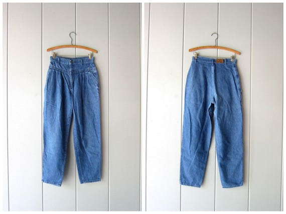 """80s Jeans High Waist Jeans Pleated Blue Jeans Denim Jeans Tapered Mom Jeans 1980s Hipster Street Wear Casual Fall Jeans Womens Waist 26"""" 27"""""""
