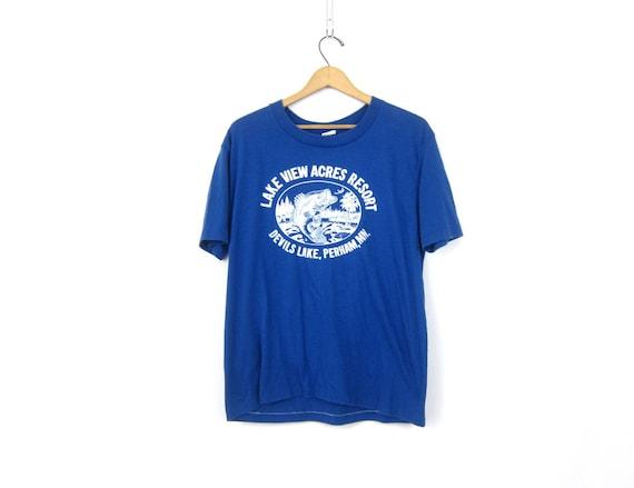 Blue 1980s Tshirt Lake View Acres Resort Wear Tourist Worn In Fishing Shirt Devils Lake Perham Minnesota Souvenir Shirt Unisex Size Large