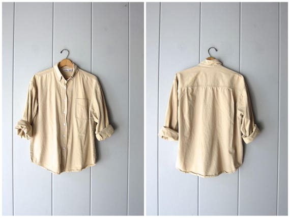 90s Button Up Shirt Beige Khaki Cotton Oxford Minimal Button Down Shirt Modern Long Sleeve Collared Shirt Vintage Normcore Top Womens Medium