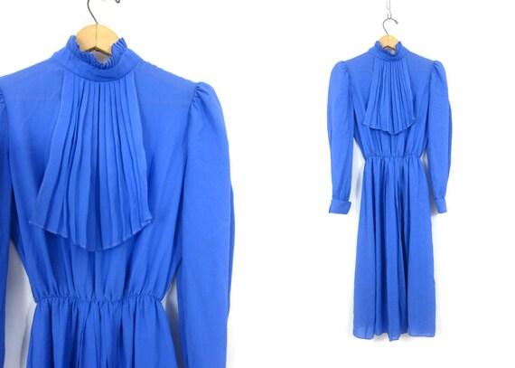 Purple Dress Minimal Bib Front Dress Retro Sheer Poly Basic Dress Hipster Mod Elastic Waist Dress Womens Size Small