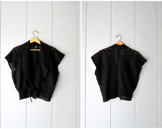 70s Tie Up Sweater Black Thin Knit Sweater Vest Top Deep V Open Tie Waist Sweater Boho Minimal Cardigan Sweater Womens Small Medium Large