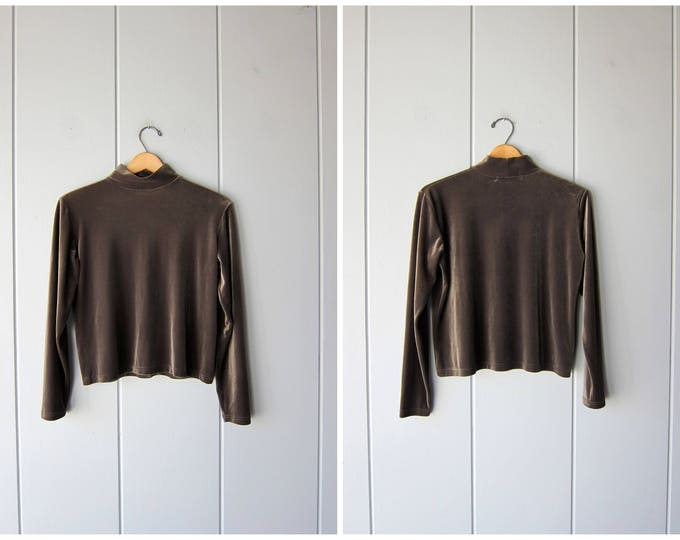 Velvet Green Shirt 90s Turtleneck Top Soft Knit Shirt Velvet Cropped Shirt Minimal Basic Long Sleeve Shirt Crop Knit Top Womens Medium