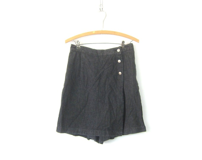 Gray Black SKORT Culotte shorts Wide Leg Shorts Mini Kilt Skirt 1980s Shorts High Waist Shorts Women's Size 30 Inch Waist