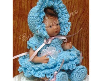 PDF CROCHET PATTERN 5 inch Bye Lo Baby Doll Dress, 5 inch Berenguer Baby Doll Dress, booties, panties, hat, bonnet, Intermediate skill level