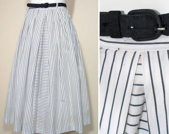Vintage 1950s Black and White Striped Cotton Skirt SZ S