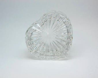 Vintage Glass Heart Trinket Dish with Lid