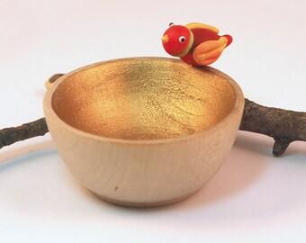 Lampwork Glass Red Birdie Bowl Tiny Wood & Gold Trinket Dish