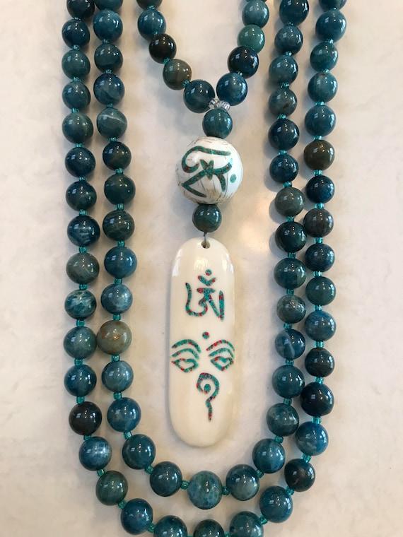 Apatite and Bone Mala/Prayer Beads